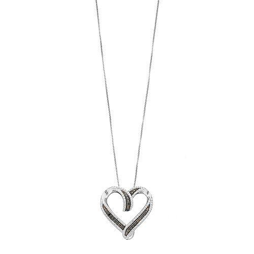 Sterling Silver 1/4 Carat T.W. Black Diamond Heart Pendant Necklace