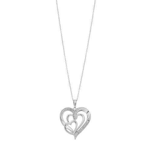 Sterling Silver 1/10 Carat T.W. Diamond Triple Heart Pendant Necklace