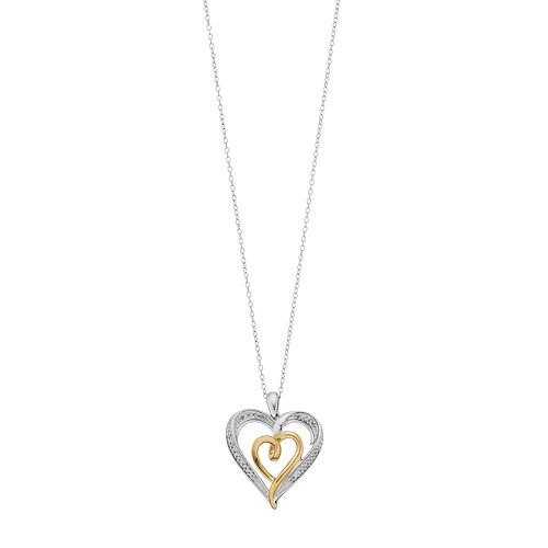 Two Tone Sterling Silver 1/10 Carat T.W. Diamond Double Heart Pendant Necklace