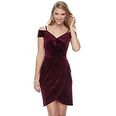Women's Jennifer Lopez Cold-Shoulder Faux-Wrap Velvet Dress