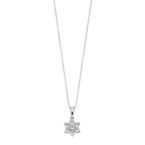 Sterling Silver Diamond Accent Snowflake Pendant Necklace