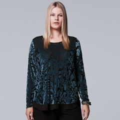 Plus Size Simply Vera Vera Wang Burnout Top