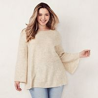 Plus Size LC Lauren Conrad Ribbed Boatneck Sweater