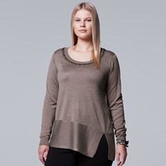 Plus Size Simply Vera Vera Wang Embellished Neckline Sweater
