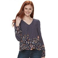 Juniors' Love, Fire Tie-Front Long Sleeve Top