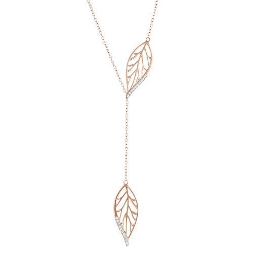 14k Rose Gold Over Silver 1/10 Carat T.W. Diamond Leaf Y Necklace