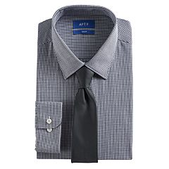 Men's Apt. 9® Slim-Fit Stretch Spread-Collar Dress Shirt & Tie Set