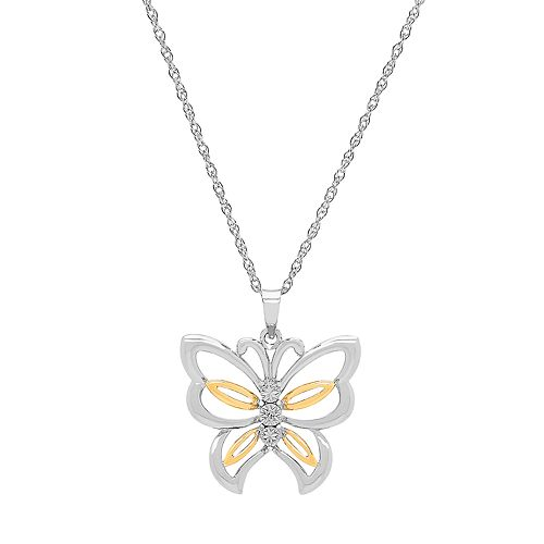 Two Tone Sterling Silver Diamond Accent Butterfly Pendant Necklace