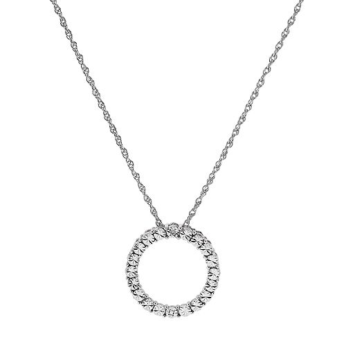 Sterling Silver Diamond Accent Circle Pendant
