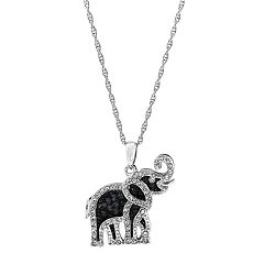 Artistique Sterling Silver Crystal Elephant Pendant Necklace