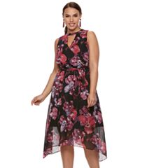 Plus Size Jennifer Lopez Choker Neck Surplice Dress