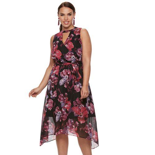 Plus Size Jennifer Lopez Choker Neck Surplice Dress