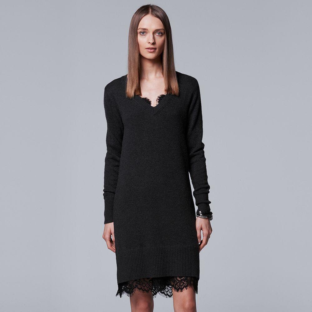 Simply Vera Vera Wang Lace Hem Sweater Dress