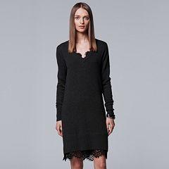 Women's Simply Vera Vera Wang Lace Hem Sweater Dress
