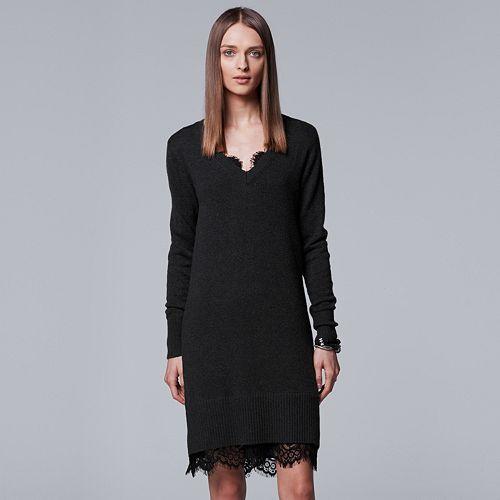 bfe7c7209aa Women s Simply Vera Vera Wang Lace Hem Sweater Dress