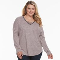 Plus Size Jennifer Lopez Embellished Crisscross Top