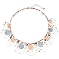 Two Tone Textured Disc Statement Necklace