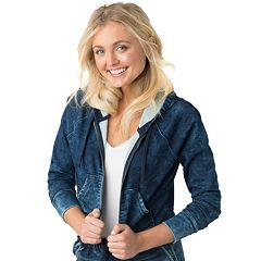 Juniors' DENIZEN from Levi's Streetwear Cropped Hoodie Jean Jacket