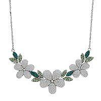 ArtistiqueSterling Silver Crystal Flower Necklace