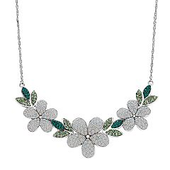Artistique Sterling Silver Crystal Flower Necklace