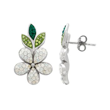 Artistique Sterling Silver Crystal Flower Earrings