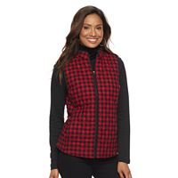 Women's Croft & Barrow® Quilted Flannel Front Plaid Vest