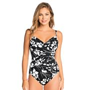 Women's Croft & Barrow® Waist Minimizer Crisscross One-Piece Swimsuit
