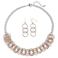 Two Tone Textured Interlocking Circle Necklace & Drop Earring Set
