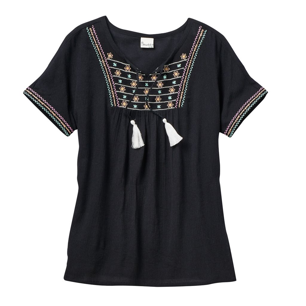 Girls 7-16 Mudd® Embroidered Gauze Peasant Top