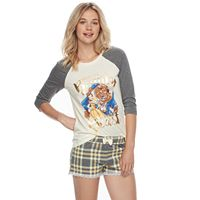 Disney's Beauty and the Beast Juniors' Pajamas: Top & Boxer Shorts PJ Set