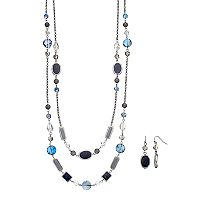 Long Blue Beaded Double Strand Necklace & Drop Earring Set