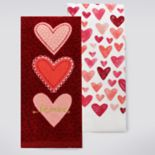 Celebrate Valentine's Day Together Three Hearts Kitchen Towel 2-pk.
