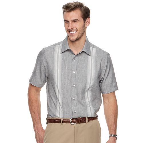 Big & Tall Haggar Regular-Fit Microfiber Woven Button-Down Shirt