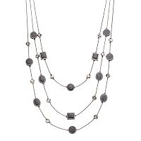 Gray Glittery Geometric Multi Strand Necklace