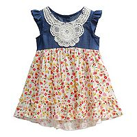 Baby Girl Youngland Floral & Crochet Dress