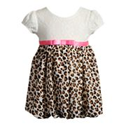 Baby Girl Youngland Cheetah & Crochet Lace Bubble Dress