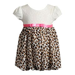 Baby Girl Youngland Cheetah & Crochet Lace Bubble Dress