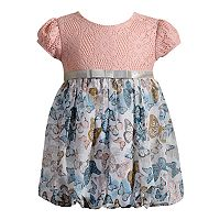 Baby Girl Youngland Floral & Crochet Lace Bubble Dress