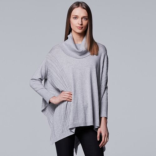 Petite Simply Vera Vera Wang Cable Knit Poncho Sweater