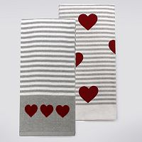 Celebrate Valentine's Day Together Gray Stripe Kitchen Towel 2-pk.