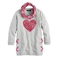 Girls 7-16 & Plus Size Sugar Rush Crush Velvet Heart Tunic & Infinity Scarf Set