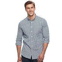 Big & Tall SONOMA Goods for Life™ Slim-Fit Checked Stretch Poplin Button-Down Shirt