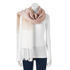 LC Lauren Conrad Striped Fringed Oblong Scarf