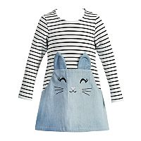 Baby Girl Youngland Kitty Cat Striped Dress