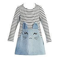 Toddler Girl Youngland Kitty Cat Striped Dress
