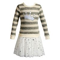 Toddler Girl Youngland Crown Striped Tutu Skirt Sweater Dress