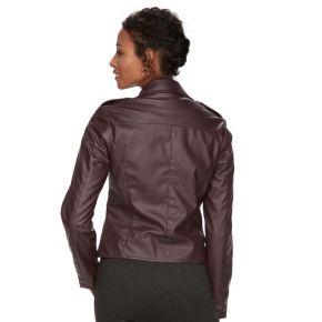 Women's Chaps Faux-Leather Moto Jacket