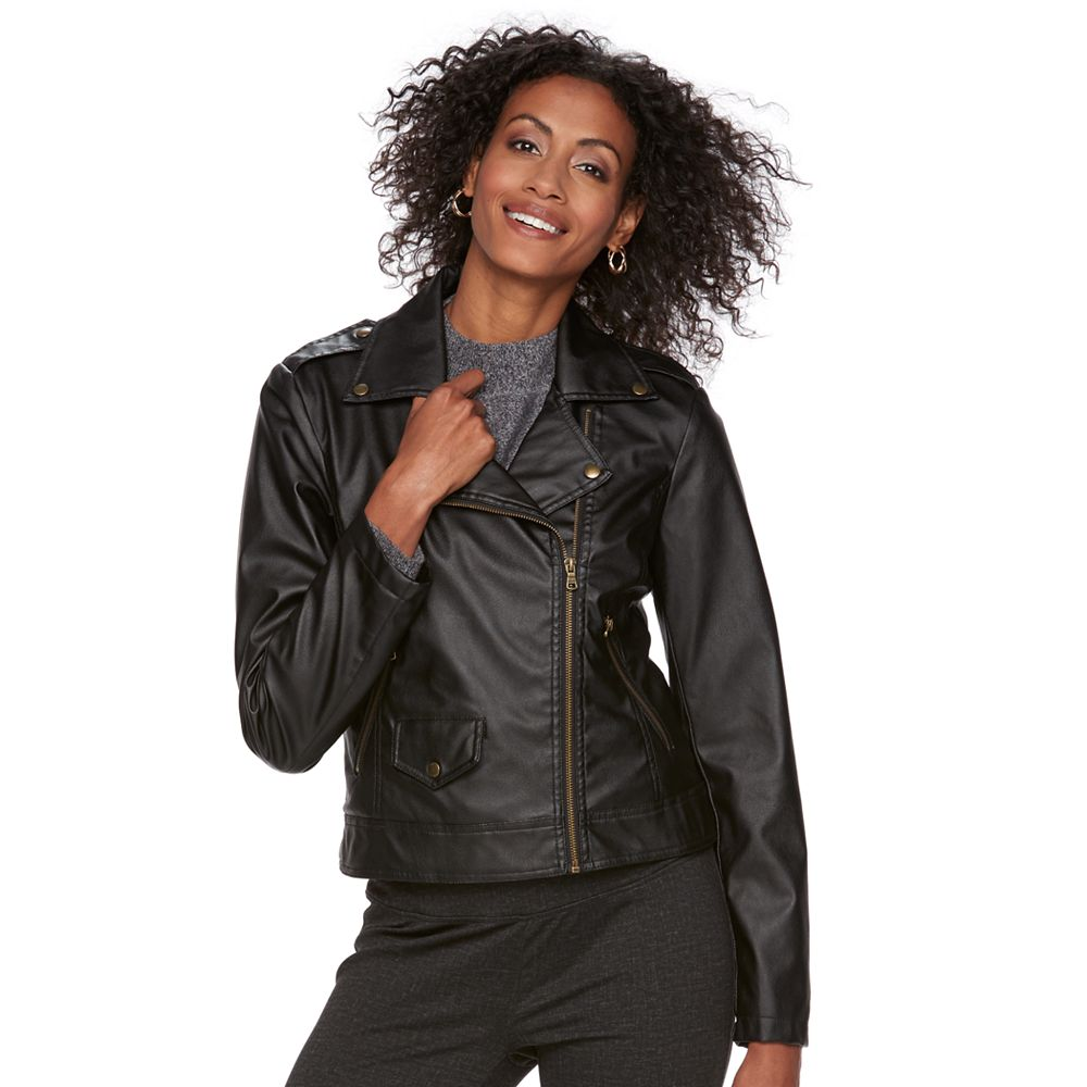 Chaps Faux-Leather Moto Jacket