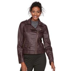Women's Chaps Faux-Leather Moto Jacket