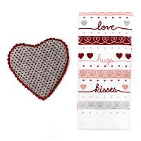 Celebrate Valentine's Day Together Heart Pot Holder & Kitchen Towel